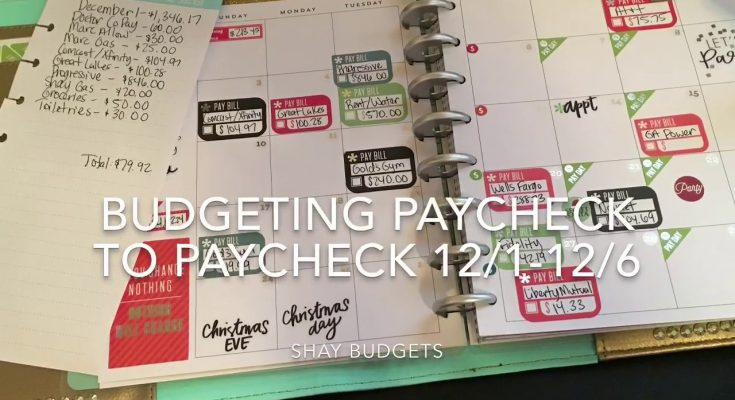 Budgeting Paycheck To Paycheck- Dec 1-Dec 6   Happy Planner